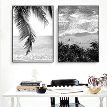 Load image into Gallery viewer, Tropical Palm Island Beach Dreams Black & White Wall Art Fine Art Canvas Prints Nordic Style Posters For Modern Scandinavian Home Interior Decor
