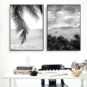 Tropical Palm Island Beach Dreams Black & White Wall Art Fine Art Canvas Prints Nordic Style Posters For Modern Scandinavian Home Interior Decor