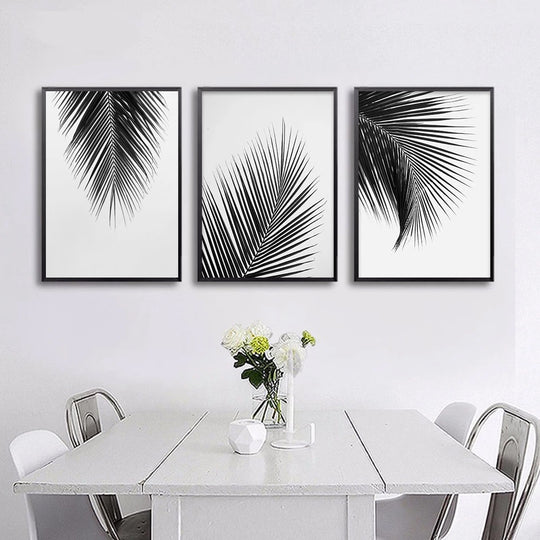 Tropical Palm Leaves Simple Minimalist Black & White Wall Art Posters Fine Art Canvas Prints For Living Room Modern Scandinavian Interior Design