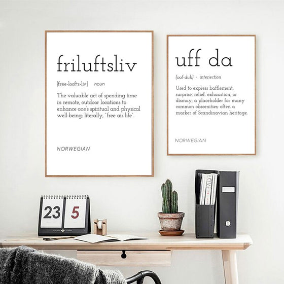 Uff Da Definition Meaning Of Friluftsliv Nordic Wall Art Fine Art Canvas Print Minimalist Black & White Typographic Posters For Scandinavian Home Interior Decor