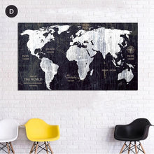 Load image into Gallery viewer, Vintage World Map Wall Art Fine Art Canvas Prints Black And White Posters For Living Room Bedroom Pictures For Home Office Interiors Wall Art Decor
