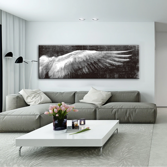 Wings Of An Angel Wall Art Vintage Fine Art Canvas Print Classic Feathers Posters For Living Room Bedroom Art Modern Home Interior Design