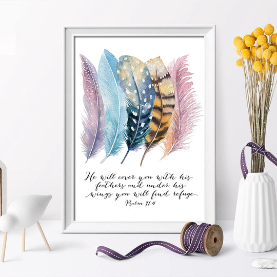 He Will Cover You With His Feathers Psalm Quotes Colorful Feather Art With Inspirational Quotations Fine Art Canvas Prints Nordic Style Decor