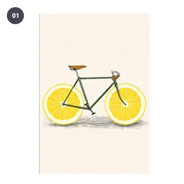 Oranges and Lemons Vintage Modern Abstract Colorful Bicycle Art For Kitchen Wall Art Posters Canvas Prints For Modern Home Decor