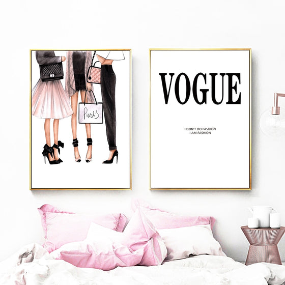 Vogue Fashion Girls Wall Art Paris Handbags & Heels Haute Couture Fine Art Canvas Prints Salon Pictures For Boutique Bedroom Glam Home Decor