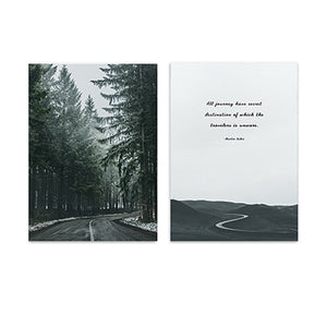 Secret Destination Road Through The Forest Wall Art Inspirational Quotation Fine Art Canvas Prints Nordic Pictures For Modern Home Decor