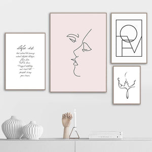 Simple Minimalist Lovers Wall Art Fine Art Canvas Prints Pink Black White Line Art Drawings With Quotation Modern Nordic Bedroom Wall Decor