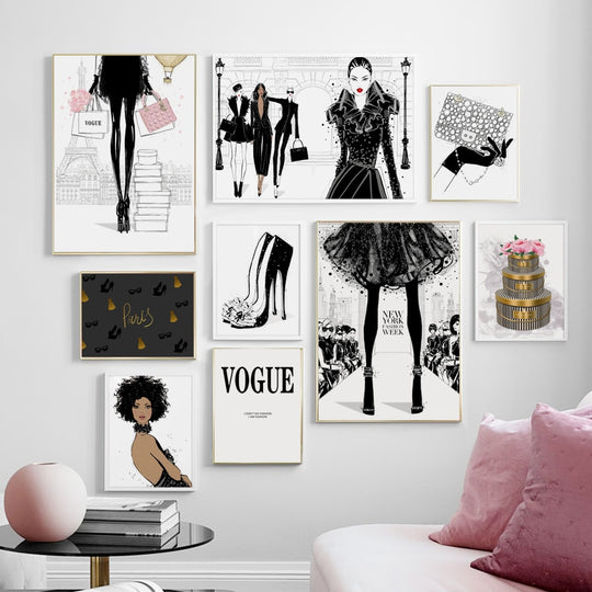 New York Vogue Fashion Handbag & Heels Glamour Wall Art Fine Art Canvas Prints Salon Art Nordic Style Boutique Pictures For Designer Home Decor
