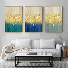 Load image into Gallery viewer, Golden Splash Abstract Wall Art Blue Jade Gold Fine Art Canvas Prints Contemporary Pictures For Modern Home Living Room Wall Decor