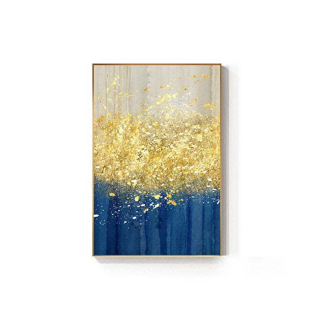 Golden Splash Abstract Wall Art Blue Jade Gold Fine Art Canvas Prints Contemporary Pictures For Modern Home Living Room Wall Decor