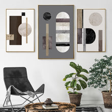 Load image into Gallery viewer, Modern Abstract Geometric Nordic Wall Art Marble And Wood Style Contemporary Scandinavian Design Home Decor Fine Art Canvas Prints