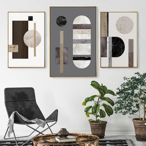 Modern Abstract Geometric Nordic Wall Art Marble And Wood Style Contemporary Scandinavian Design Home Decor Fine Art Canvas Prints