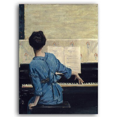 Woman Playing Piano Music Wall Art Retro Vintage Vogue Nostalgia Fine Art Canvas Prints Retro Style Paintings For Living Room Home Decor