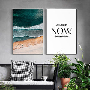 Abstract Beach Seascape Viewed From Above Inspirational Quote Wall Art Nordic Style Fine Art Canvas Prints For Living Room Modern Home Decor