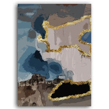 Load image into Gallery viewer, Modern Abstract Marble Wall Art Fine Art Canvas Print Blue Gold Brown Aesthetics Luxury Scandinavian Style Contemporary Art Home Decor
