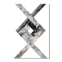 Load image into Gallery viewer, Geometric Asymmetric Marble Design Wall Art Decor Nordic Style Black & White Fine Art Canvas Prints For Modern Living Room Interior Decor