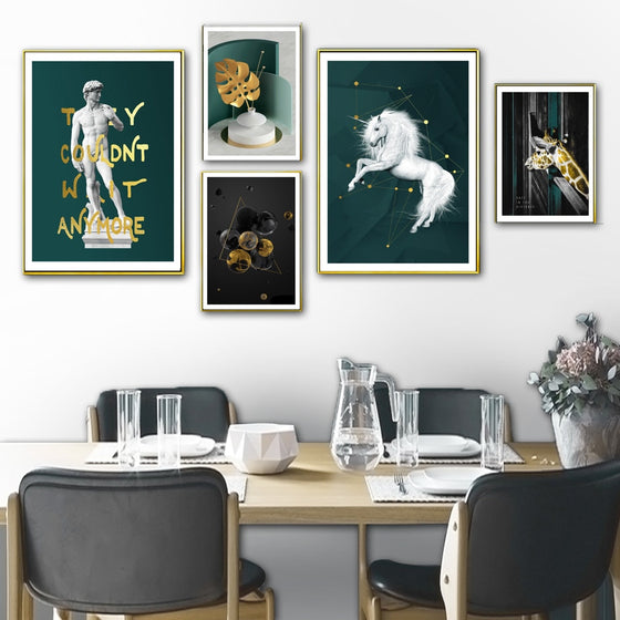 Green Golden Retro Gallery Wall Art Abstract Renaissance Unicorn Nordic Style Fine Art Canvas Prints For Modern Home Interior Decor