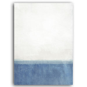 Night And Day Contemporary Nordic Abstract Wall Art Modern Shades Of Blue & Black Fine Art Canvas Prints For Office Or Living Room Home Decor
