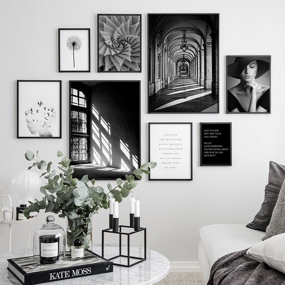 Black White Nordic Wall Art Gallery Wall Collection Fashion Nature Architecture Life Quotations Scandinavian Style Fine Art Canvas Prints