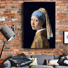 Load image into Gallery viewer, Famous Painting Girl With a Pearl Earring by Jan Vermeer, Dutch Golden Age Oil Painting Fine Art Canvas Print Posters For Home Decor