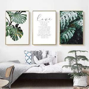 Tropical Green Monstera Leaves Botanic Wall Art Simple Minimalist Love Quotations Nordic Style Fine Art Canvas Prints For Modern Home Decor