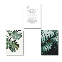 Load image into Gallery viewer, Tropical Green Monstera Leaves Botanic Wall Art Simple Minimalist Love Quotations Nordic Style Fine Art Canvas Prints For Modern Home Decor