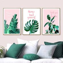 Load image into Gallery viewer, Pink And Green Leaves Wall Art Tropical Botany Palm Leaves And Monster Leaf Minimalist Nordic Quotation Pictures Scandinavian Interior Decor