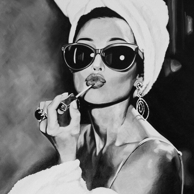 Audrey Hepburn Sunglasses & Lipstick Black And White Wall Art Movie Poster Fine Art Canvas Prints Stylish Pictures For Modern Home Decor