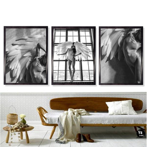 Heavenly Girl With Angels Wings Black & White Wall Art Fine Art Canvas Prints Modern Scandinavian Style Pictures For Living Room Interior Decor
