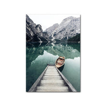 Load image into Gallery viewer, Idyllic Scenes Of Mountain Wilderness Wall Art Tranquil Lake Boat Reflections Pictures Of Calm Fine Art Canvas Prints Nordic Home Decor