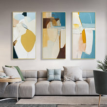 Load image into Gallery viewer, Nordic Abstract Oblong Vertical Wall Art Colorful Subdued Summer Hues Fine Art Canvas Prints Scandinavian Style Modern Home Interior Decor