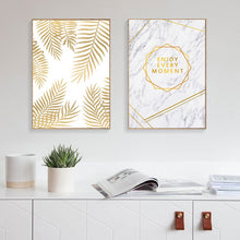 Load image into Gallery viewer, Enjoy Every Moment Quotation Wall Art Marble Background Golden Palm Leaf Fine Art Canvas Prints Nordic Posters For Living Room Bedroom Wall Art Decor