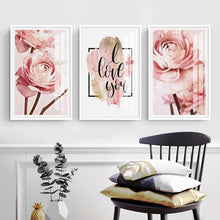 Load image into Gallery viewer, Rose Gold Peonies Wall Art Pink Floral Fine Art Canvas Prints Nordic Style Minimalist I Love You Quotation Modern Cute Pictures For Bedrooms