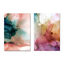 Load image into Gallery viewer, Modern Abstract Watercolor Wall Art Organic Botanic Subdued Colors Fine Art Canvas Prints Contemporary Scandinavian Interior Design Wall Decor