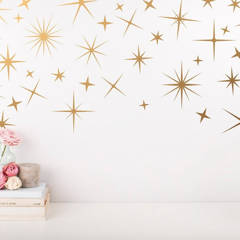 Starry Nights Golden Star Wall Decals For Kids Bedroom Removable PVC Vinyl Wall Murals For Living Room Dining Room Creative DIY Nursery Wall Decoration