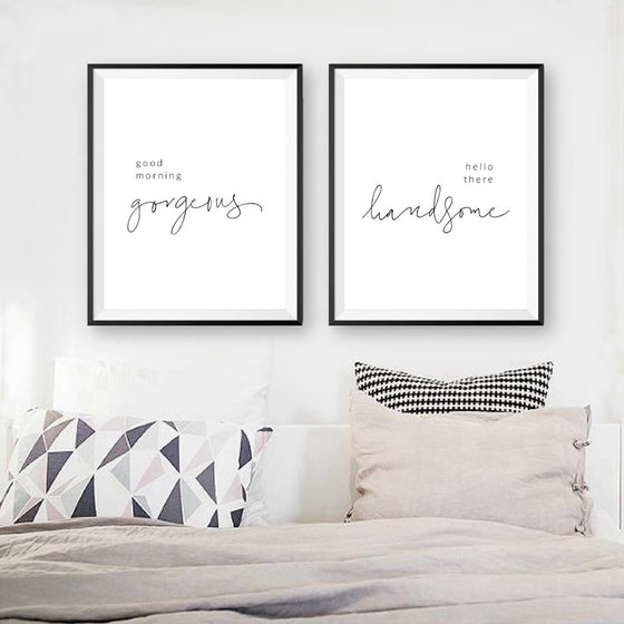 Minimalist Bedroom Quotes Typographic Wall Art Canvas Prints Good Morning Gorgeous Hello There Handsome Black and White Modern Nordic Poster