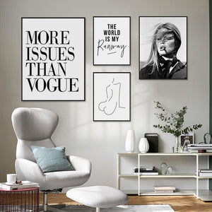Modern Fashion Quotes Retro Vogue Wall Art Black & White Nordic Style Salon Art Fine Art Canvas Prints For Modern Boutique Home Interior Decor