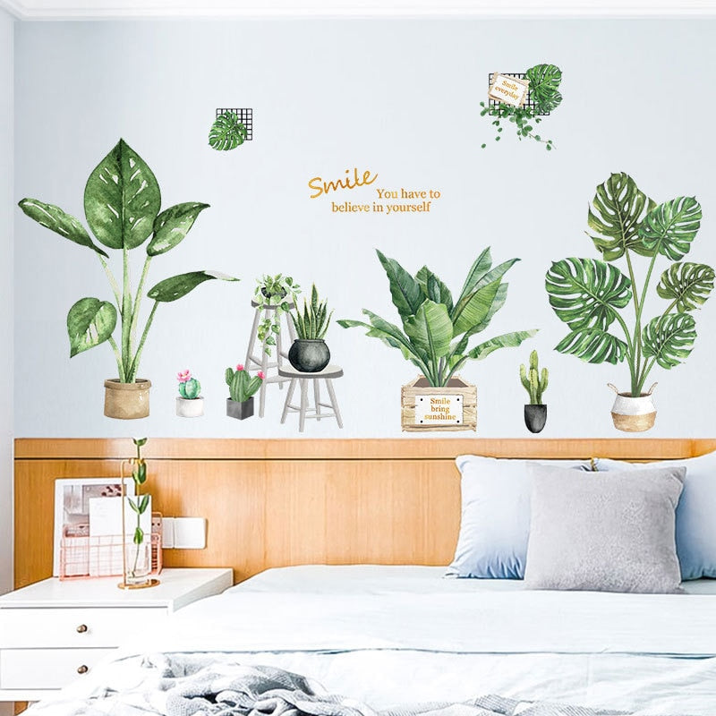 Potted Houseplants Wall Mural Removable PVC Creative DIY Wall Decals For Living Room Dining Room Nordic Style Greenery Wall Decorations