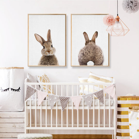 Cute Animals Cartoon Canvas Nursery Paintings Cute Bunny Rabbit Posters Prints Nordic Wall Art Pictures For Kids Room Home Decor