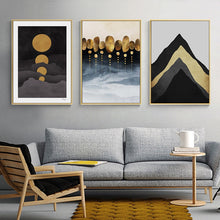 Load image into Gallery viewer, Abstract Golden Moon Landscape Wall Art Fine Art Canvas Prints Modern Nordic Mountains Moon & Rain Clouds Pictures For Home Office Decor
