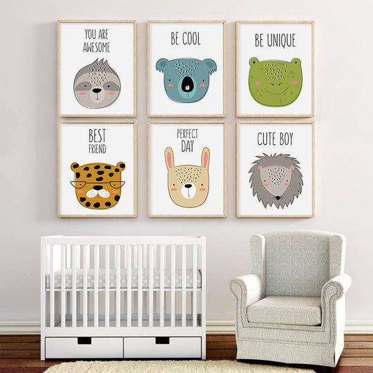 Cute Friends Animal Nursery Decor Nordic Style Cartoon Woodland Animals Fine Art Canvas Prints For Kids Room Children s Bedroom Decor