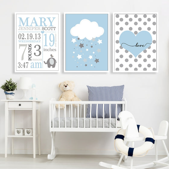 Cute Personalized Baby's Room Wall Art Posters Nordic Style Fine Art Canvas Prints Picture For Children;s Room Modern Cute Kids Room Decor