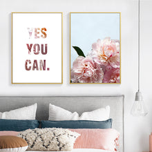 Load image into Gallery viewer, Yes You Can Modern Floral Motivation Quotation Wall Art Pink Peonies Fine Art Canvas Prints Modern Nordic Style Posters For Home Office Decor