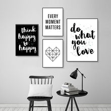 Load image into Gallery viewer, Do What You Love Positive Quotes Wall Art Nordic Style Black & White Minimalist Inspirational Word Art Fine Art Canvas Prints Home Office Interior Decor