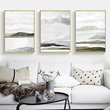Load image into Gallery viewer, Mountain Landscapes Contemporary Abstract Nordic Fine Art Canvas Prints Earthy Colors Natural Hues Scandinavian Home Interior Decor