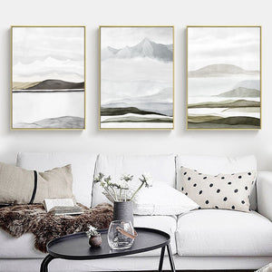 Mountain Landscapes Contemporary Abstract Nordic Fine Art Canvas Prints Earthy Colors Natural Hues Scandinavian Home Interior Decor