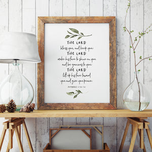 Minimalist Floral Bible Verse Wall Art The Lord Bless You Quotation Poster Fine Art Canvas Print Pictures For Living Room Kitchen Bedroom Wall Art Decor