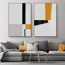 Load image into Gallery viewer, Modern Minimalist Artistic Abstract Wall Art Nordic Style Fine Art Canvas Prints Yellow Black Blue Geometric Design Scandinavian Wall Decor