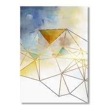 Load image into Gallery viewer, Geometric Gold Lines Abstract Wall Art Nordic Style Blue Green Fine Art Canvas Prints Modern Pictures For Living Room Bedroom Home Office Decor