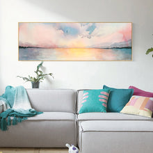 Load image into Gallery viewer, Abstract Nordic Landscape Watercolor Wide Format Wall Art Fine Art Canvas Giclee Print Pastel Colored Sunset Pictures For Modern Bedroom Decor